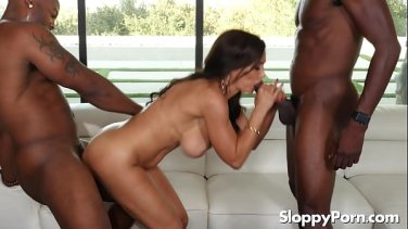 Two horny brunettes get their asses stuffed with big black dick